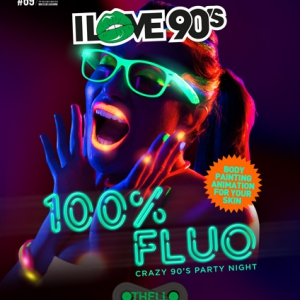 Flyer   I LOVE 90'S SOIREE FLUO ! BODY PAINTING ANIMATION FOR YOUR SKI